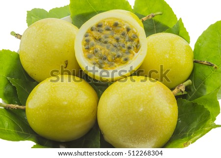 Ripe yellow passion fruits isolated on white background