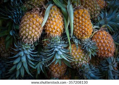 Ripe yellow pineapples for sale in Sri Lanka - stock photo