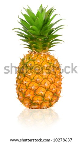 Ripen pineapple isolated over white white background
