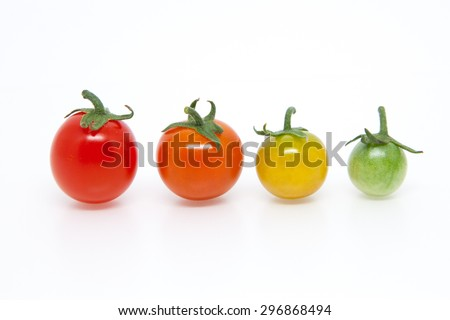 Ripening cherry tomatoes, 4; isolated
