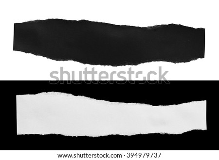 Ripped black and white paper, copy space