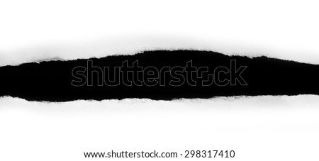 Ripped black and white paper, copy space on white background - stock photo