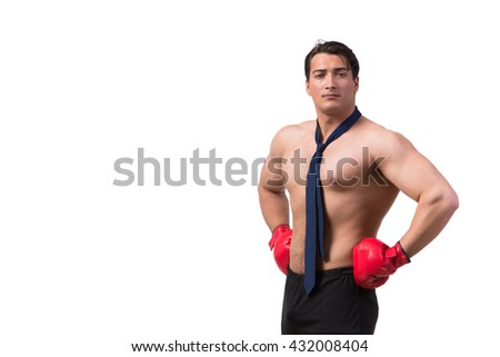 Ripped businessman with boxing gloves isolated on white