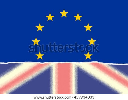 Ripped faded United Kingdom flag and European Union flag, Brexit concept