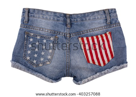 Ripped handmade jeans shorts isolated on white background. - stock photo