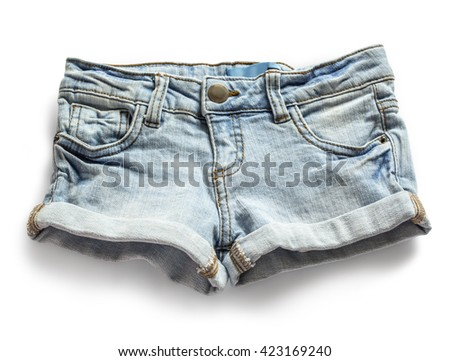 Ripped handmade jeans shorts isolated on white background.with clipping path - stock photo
