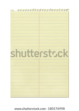 Ripped out Sheet of Yellow Spiral Notebook Paper Isolated on White Background. - stock photo