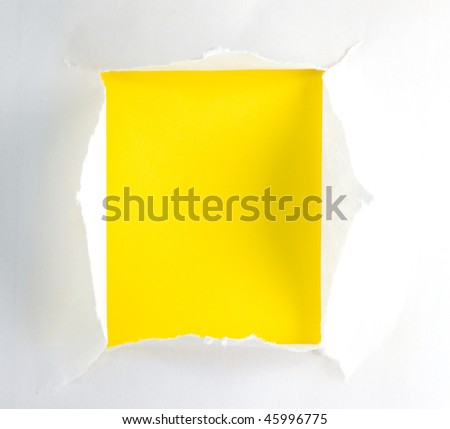 Ripped paper displaying a yellow background