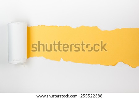 Ripped paper, space for copy. Yellow background. - stock photo