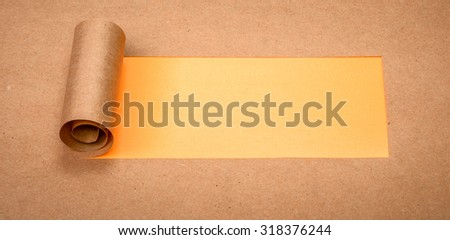 Ripped paper with space for text with orange background - stock photo