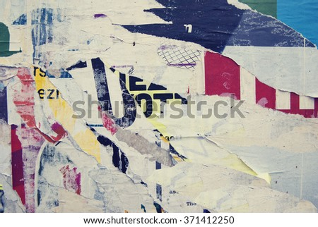 ripped poster background, urban texture - stock photo