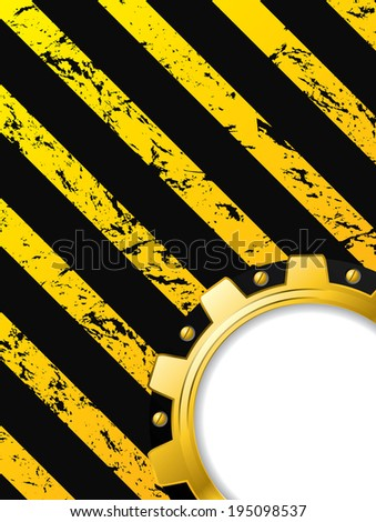 Ripped striped grunge background with cogwheel