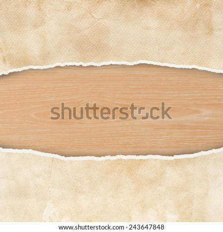 Ripped vintage paper texture and wood texture. - stock photo