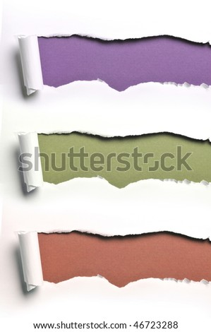ripped white paper against a various color backgrounds - stock photo