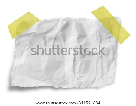 ripped white paper note with sticky tape - stock photo