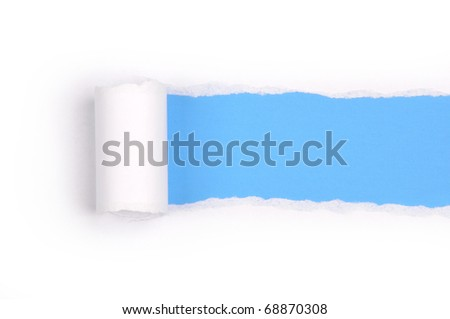 Ripper paper with space for text with blue background