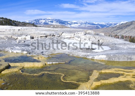 Ripple patterns at mammoth hot springs in Yellowstone national park - stock photo
