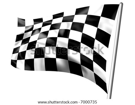 Rippled black and white chequered flag on pole - stock photo