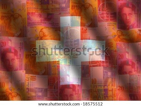 rippled currency and Swiss flag background illustration - stock photo