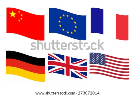 Rippled flags illustrations of China, Europe, France, Germany, UK, USA