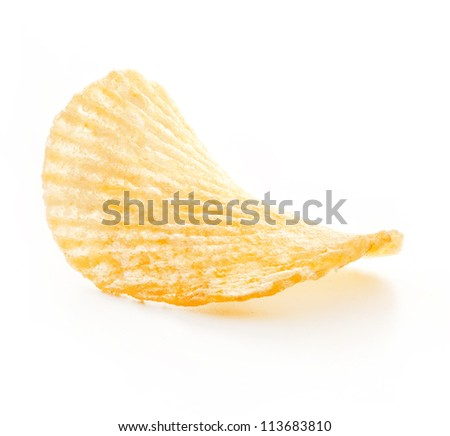 Rippled potato chips isolated on white background