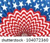 Rippled USA American Flag abstract background - stock photo