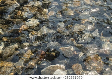 Ripples creating shadows onto round pebbles in water - stock photo