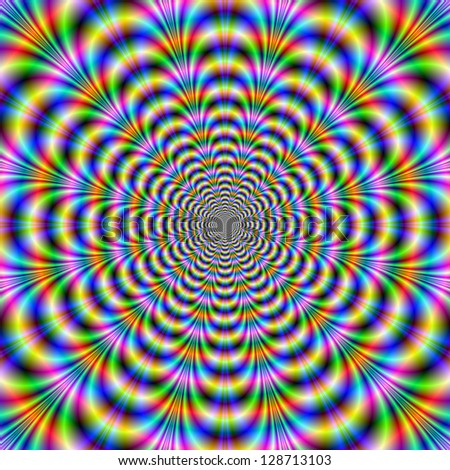 Rippling Rings / Digital abstract image with a geometric fractal design in blue, green, red and yellow.