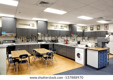 Teaching Kitchen Design kitchen primitive colonial style reproduction home stock photo