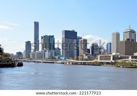RISBANE, AUS - SEP 24 2014: Brisbane Skyline. Brisbane is the third largest capital city by geographic area in the world, occupying some 1,140km2