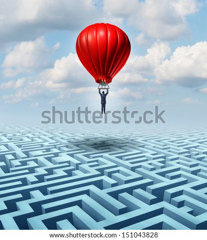 Rise above adversity solution Leadership with a businessman flying and soaring over a complicated maze in a hot air balloon as a business concept of innovative creative thinking in financial success. - stock photo