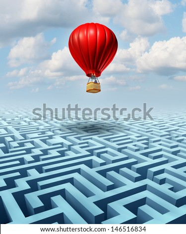 Rise above the challenges of business and life concept with a red hot air balloon and a businessman pilot flying over a confusing maze or labyrinth as a leadership metaphor for conquering adversity. - stock photo