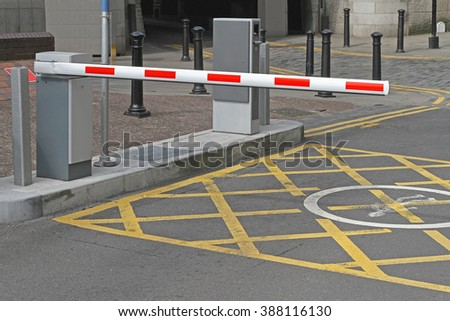 Rising Arm Access Barrier at Car Parking - stock photo