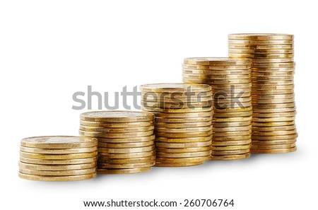 Rising columns of golden coins isolated on white background - stock photo