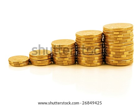 Rising currency - stacks of gold coins reflected on white, forming an upwards graph.