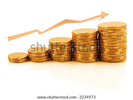 Rising currency - stacks of gold coins reflected on white, in upward growth.