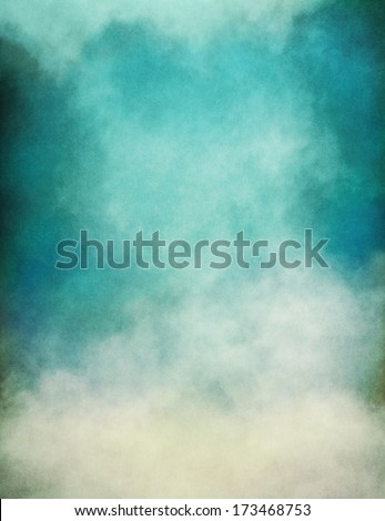 Rising fog and clouds on a paper background.  Image displays significant paper grain and texture at 100 percent.