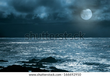 Rising full moon over sea and rocks in a cloudy night - stock photo