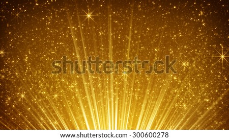 rising gold particles in light rays. computer generated abstract background  - stock photo