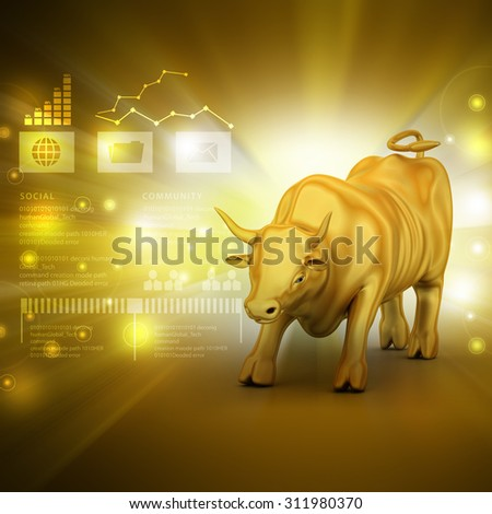 Rising golden business bull in color background - stock photo