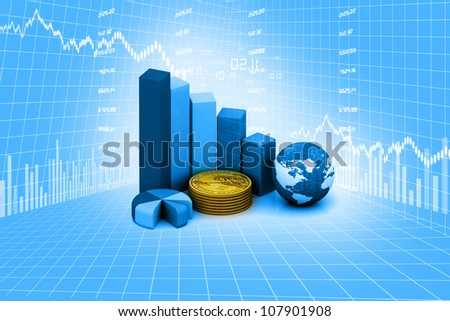 Rising graph with world - stock photo