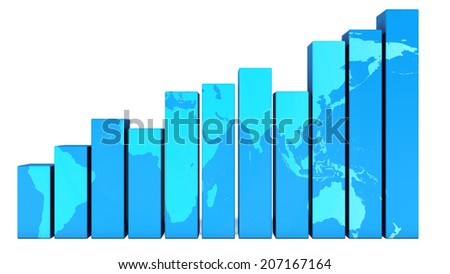 Rising graph with world map - stock photo
