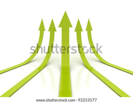 Rising green arrows 3D - stock photo