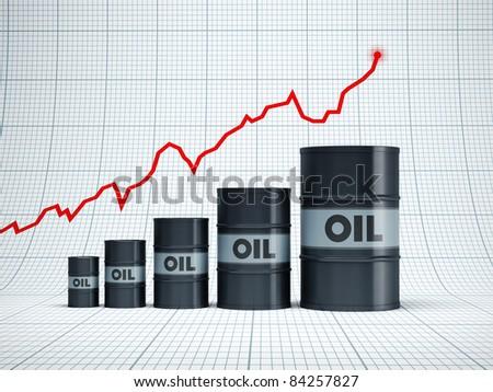 rising oil barrel, 3d rendering - stock photo
