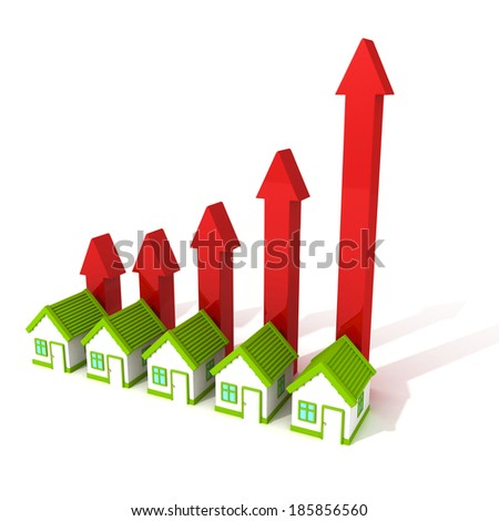 Rising real estate price concept house arrows bar chart. business trade 3d render illustration - stock photo