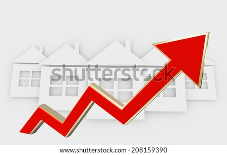 rising real estate prices - conceptual illustration with 3D red arrow - stock photo