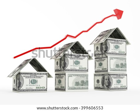 Rising red arrow above dollar shaped houses.