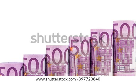 rising steps made of 500 euro banknotes on white background - stock photo