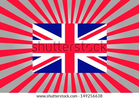 Rising sun style background with the flag of the United Kingdom