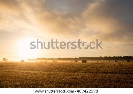 Rising sunshine over fields - stock photo